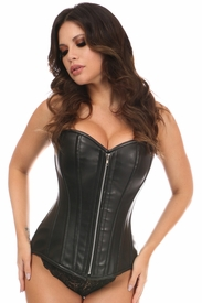 Top Drawer Black Faux Leather Steel Boned Overbust Corset - IN STOCK