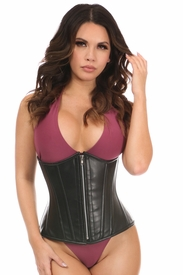 Top Drawer Black Faux Leather Steel Boned Underbust Corset - IN STOCK