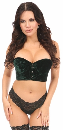 Lavish Dark Green Velvet Underwire Short Bustier