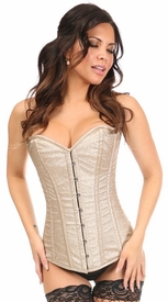 Top Drawer Golden Glow Glitter Steel Boned Overbust Corset