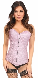 Top Drawer Posh Pink Glitter Steel Boned Overbust Corset