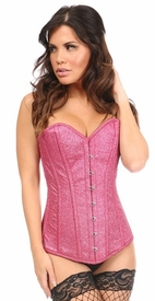 Top Drawer Fierce Fuchsia Glitter Steel Boned Overbust Corset