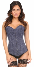 Top Drawer Twilight Sky Glitter Steel Boned Overbust Corset