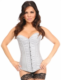 Top Drawer Silver Glitter Steel Boned Overbust Corset