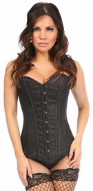 Top Drawer Black Glitter Steel Boned Overbust Corset