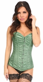 Top Drawer Lucky Green Glitter Steel Boned Overbust Corset