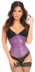 Top Drawer Grape Glitz Glitter Steel Boned Underbust Corset