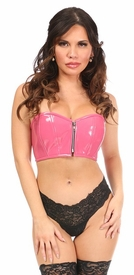 Lavish Pink Patent Short Bustier Top - IN STOCK