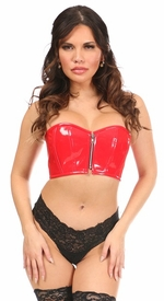 Lavish Red Patent Short Bustier Top - IN STOCK