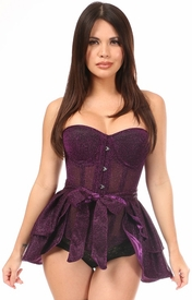 Lavish Purple Glitter Corset & Skirt Set