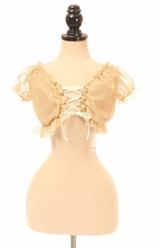 Gold Glitter Lace-Up Front Peasant Top - IN STOCK