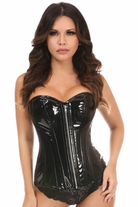 Top Drawer Black Patent PVC Steel Boned Over Bust Corset - IN STOCK