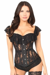 Top Drawer Black Sheer Lace Steel Boned Corset - IN STOCK