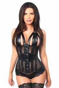 Top Drawer Faux Leather & Fishnet Steel Boned Halter Top Corset - IN STOCK