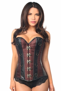 Top Drawer Brown Brocade & Faux Leather Steel Boned Corset - IN STOCK