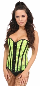 Lavish Neon Green Sheer Lace & Faux Leather Overbust Corset