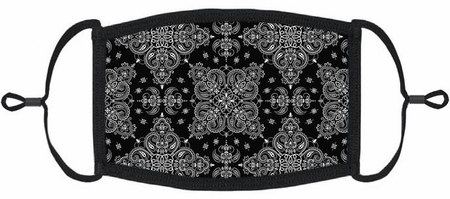 Black Bandana Fabric Face Mask