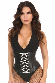 Top Drawer Black Faux Leather Steel Boned Under Bust Corset