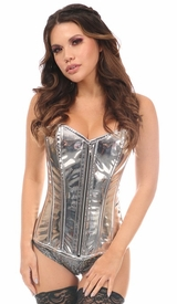 Top Drawer Silver Metallic Steel Boned Over Bust Corset