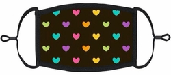 YOUTH SIZE - Rainbow Hearts Fabric Mask