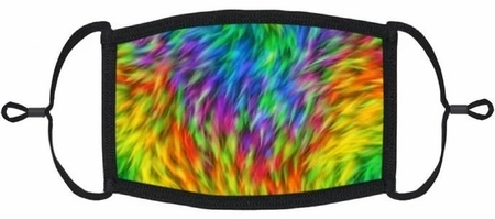 YOUTH SIZE - Neon Tie Dye Fabric Face Mask