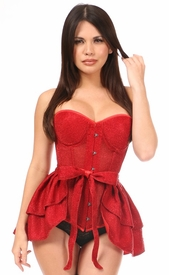 Lavish Red Glitter Corset & Skirt Set