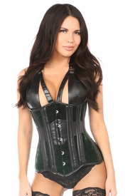 Top Drawer Green Velvet Steel Boned Underbust Corset