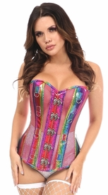 Top Drawer Rainbow Glitter PVC & Pink Fishnet Steel Boned Under Bust Corset