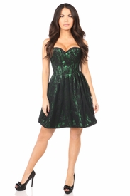 Top Drawer Green Steel Boned Lace Corset Dress