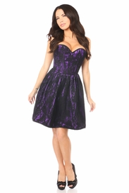 Top Drawer Purple Steel Boned Lace Corset Dress