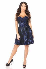 Top Drawer Blue Steel Boned Lace Corset Dress