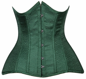 Lavish CURVY Dark Green Brocade Under Bust Corset