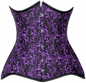 Lavish CURVY Purple Brocade Under Bust Corset