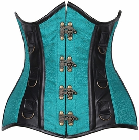 Top Drawer CURVY Brocade & Faux Leather Steel Boned Under Bust Corset