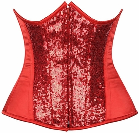 Top Drawer Red Sequin Steel Boned Under Bust Corset