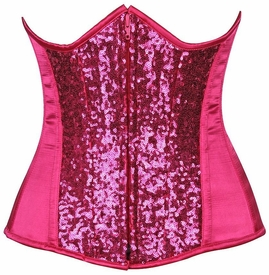 Top Drawer Fuchsia Sequin Steel Boned Under Bust Corset