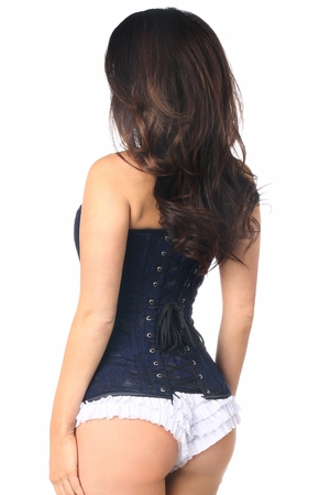 Lavish Navy Blue Lace Overbust Corset w/Zipper - IN STOCK