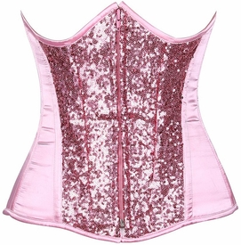 Top Drawer Lt Pink Sequin Steel Boned Under Bust Corset