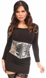 Top Drawer Silver Metallic PVC Steel Boned Mini Cincher