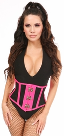 Top Drawer Hot Pink Patent & Fishnet Steel Boned Mini Cincher w/Clasps