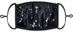 Black/Silver Flip Sequin Fabric Face Mask