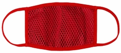 Red Mesh Net Overlay Fabric Face Mask