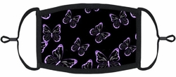 YOUTH SIZE - Purple Butterflies Fabric Face Mask