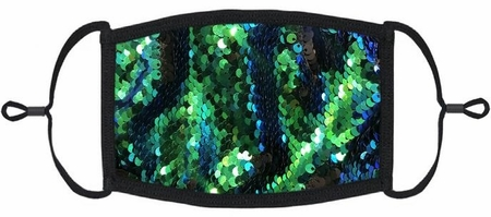 Blue/Green/Black Flip Sequin Fabric Face Mask