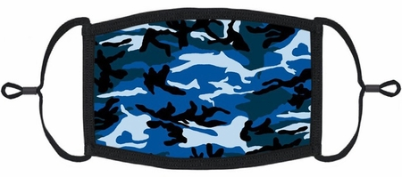 Blue Camo Fabric Face Mask