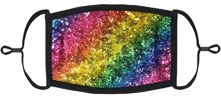 Rainbow Sequin Fabric Face Mask