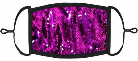 Fuchsia/Silver Flip Sequin Fabric Face Mask