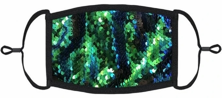 YOUTH SIZE - Blue/Green/Black Flip Sequin Face Mask