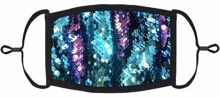 YOUTH SIZE - Teal/Purple Flip Sequin Face Mask