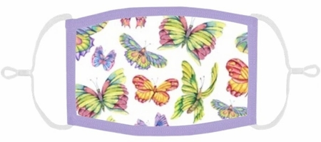 YOUTH SIZE - Pastel Butterflies Fabric Face Mask